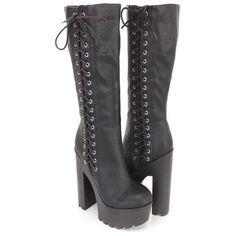 Gothic Punk Rock Side Lace-up Lug Sole Chunky High Heel Platform Black... ❤ liked on Polyvore featuring shoes, boots, platform boots, knee-high lace-up boots, lace up boots, gothic platform boots and black high heel boots