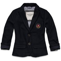 Abercrombie & Fitch Blair Blazer ($56) ❤ liked on Polyvore featuring outerwear, jackets, blazers, tops, shirts, women, blazer jacket, preppy jackets, logo jackets and vintage jacket