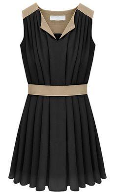 Noire Robe plissée en mousseline agréable  EUR€24.32