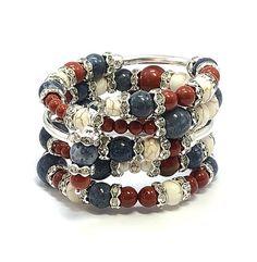 Memory Wire Bracelet Mother's Day Gift Red Jasper