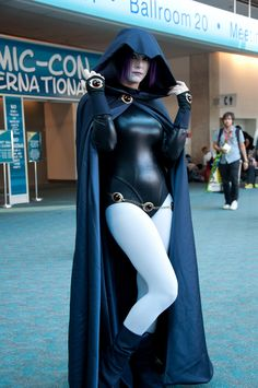 Raven cosplay... Can I just say this is the tv show cosplay? The original Raven from the comics wore a dress...a very slutty dress, but still.