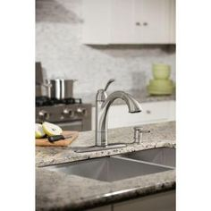 MOEN, Walden Single-Handle Pull-Out Sprayer Kitchen Faucet Featuring Microban Protection in Spot Resist Stainless, 87045MSRS at The Home Depot - Mobile