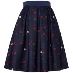 Marella Tanica polka dot flare skirt ($160) ❤ liked on Polyvore featuring skirts, navy, women, navy polka dot skirt, flared skirt, a line skirt, skater skirts and navy skirt