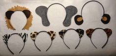 Jungle safari animals ears headband birthday party favors. Lion, elephant, monkey, zebra, leopard, cheetah. Great idea for party supplies for zoo, jungle, or circus theme $18.00
