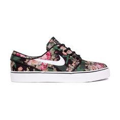 Nike SB Stefan Janoski Premium (Digital Floral-Camo) Consortium ($81) ❤ liked on Polyvore featuring shoes, sneakers, trainers, zapatillas, floral pattern shoes, floral print shoes, floral shoes, camo skate shoes and nike trainers