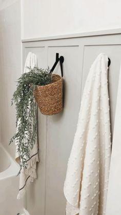 Upstairs Bathrooms, Small Bathroom, Bathroom Ideas, Grey Bathroom Decor, Bathroom Towel Hooks, Budget Bathroom, Board And Batten, Diy Home Repair, Diy Home Improvement