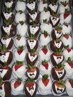 Bride and Groom Chocolate Covered strawberries make perfect favors or desserts for Bridal Shower.  #weddingdesserts