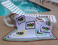 Picture of Olympic Rings Afghan and Pillow Crochet Pattern
