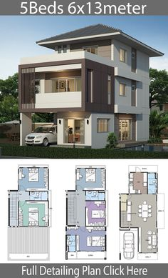 house design Home design plan with 5 bedrooms. Style modernHouse description:Number of floors 3 storey housebedroom 5 roomstoilet 4 roomsmaid's room 3 Storey House Design, Duplex House Design, House Front Design, Small House Design, Kerala House Design, 5 Bedroom House Plans, Duplex House Plans, Modern Bungalow House Design, House Plans 2 Storey