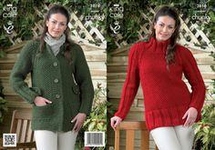 King Cole Super Chunky Knitting Pattern - 3818 Tunic & Coat