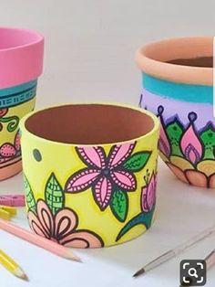 Painted Clay Pots, Mandala Artwork, Ceramic Pottery, Planters, Diy Crafts, Decorating, Painting, Ideas, Creative Decor