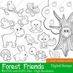 Forest Friends - Digital stamps by pixelpaperprints on Etsy https://www.etsy.com/listing/191376838/forest-friends-digital-stamps
