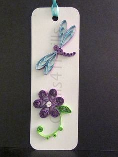 Quilled Purple Flower with Matching Dragonfly Bookmark