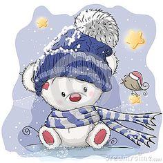 Greeting Christmas card with polar bear