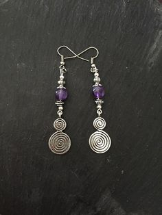 Earrings - Spiral of Life - Amethyst - Hippie - Boho - Folk - Wicca - Pagan - New Age by Nattspinnas on Etsy