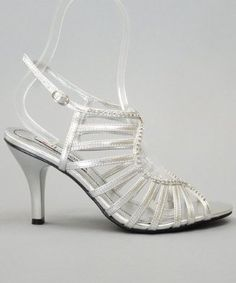 Lasonia S7544 Open Toe Rhinestone Embellished Strappy Dress Sandal Shoes SILVER