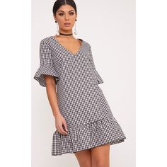 Fenaline Black Gingham Plunge Frill Detail Shift Dress ($25) ❤ liked on Polyvore featuring dresses, black gingham, plunging neckline cocktail dress, plunge-neck dresses, flouncy dress, flounce dress and flutter-sleeve dress