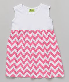 Another great find on #zulily! White & Fuchsia Zigzag Kelly Dress - Infant, Toddler & Girls #zulilyfinds