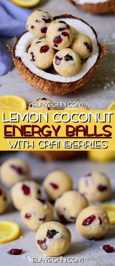 no-bake lemon coconut balls with cranberries. The energy balls are vegan, gluten-free, refined sugar-free, oil-free. Healthy Dessert Options, Raw Vegan Desserts, Vegan Dessert Recipes, Vegan Sweets, Vegan Snacks, Easy Desserts, Baby Food Recipes, Baking Recipes, Healthy Snacks