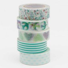 Tape Set Romatic Flowers blau 5-teilig