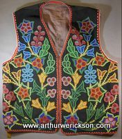 ojibway floral beadwork   Ojibwa beaded vest, c. 1900