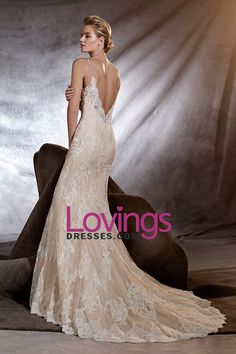 2016 Open Back V Neck Wedding Dresses Mermaid Lace With Applique