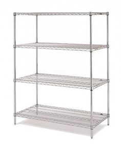"""Olympic 18"""" Deep 4 Shelf Starter Units - Chrome - 18"""" x 72"""" x 54"""" by Olympic. $259.36. Olympic wire shelving made of carbon-steel will exceed all your storage needs. Open construction allows use of maximum storage space of cube. Each unit includes 4 posts, 4 shelves and split-sleeves to attach shelves to posts. Chrome finishes are perfect for retail applications. Product Features: Open wire design that minimizes dust accumulation and allows a free circulation of air. Greater vis..."""