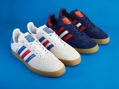 adidas Originals 350 suede is set to be released on Friday 11th of November exclusively by Size? White shoe with iconic red and blue stripes.