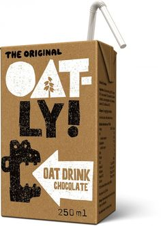 Chocolate Oat Drink Kids Edition Oatly wow no cow vegan drink oat milk packaging design Fruit Packaging, Food Packaging Design, Coffee Packaging, Bottle Packaging, Food Branding, Chocolate Alternatives, Design Package, Label Design, Design Design