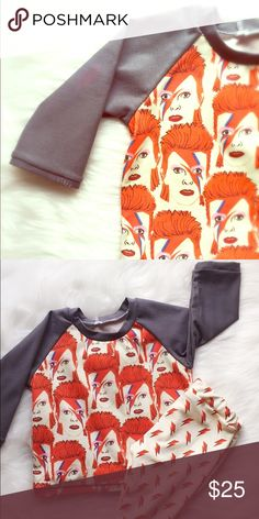 Infant/Toddler David Bowie longsleeve Raglan shirt Handmade by yours truly (under my children's clothing line Little Wild Thing) Professionally serged seams for durability and longevity. Main front and back panel features the iconic face of musical legend David Bowie with solid slate grey raglan style (Baseball Tshirt style) sleeves. Little Wild Thing  Shirts & Tops Tees - Long Sleeve