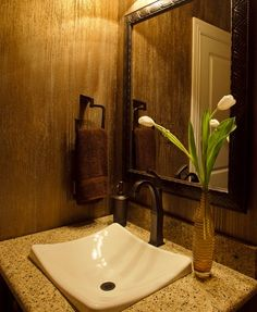 Glass Bead Powder Room. What a cool sink!