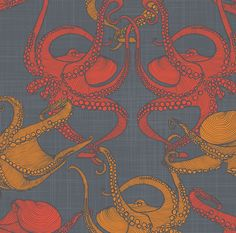 Octopus Fabric - Cephalopod - Octopi By Patricia Braune - Nautical Cotton Fabric By The Yard With Spoonflower