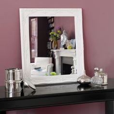 Miroir en bois de paulownia H 74 cm blanc ENZO
