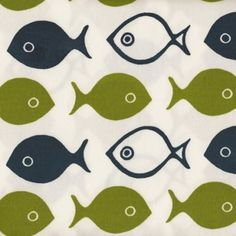 Sprout Design One Fish Two Fish - Green Blue- fabric