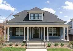 Blue house colors changing exterior house colors took from plain to Navy Blue Houses, Paint Colors For Home, House Exterior, Luxury Interior Design, House Exterior Blue, Trending Paint Colors, Exterior Color Schemes Blue