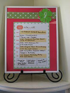 Dry Erase Weekly Calendar (menu planning, etc.)