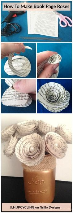 How to Make Book Page Roses Jen Holz from JLHUPCYCLING shares how to create gorgeous looking roses from book pages! Simple, easy and quick to do. See full tutorial here Old Book Crafts, Book Page Crafts, Book Page Art, Old Book Pages, Flower Crafts, Diy Flowers, Fabric Flowers, Paper Flowers, Book Flowers