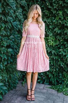 Pink Lace Modest Dress by Mikarose, Vintage Dress, Church Dresses, dresses for church, modest bridesmaids dresses, trendy modest, modest skirt, modest shirts, cute modest dresses, modest church dresses, mikarose, trendy boutique