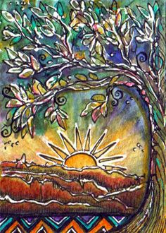 Canyonland Sunrise by Margaret Storer-Roche Sun Painting, Fabric Painting, Polymer Clay Painting, Bullet Art, Domino Art, Batik Art, Simple Art, Teaching Art, Art Techniques
