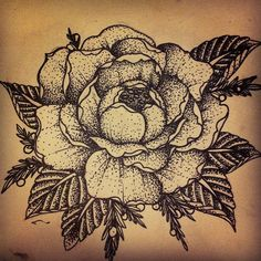 Stippled rose tattoo instead of traditional shading. LOVE