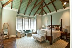 Vaulted bead board ceiling give this ocean view bedroom a warm embrace. ---------- Andrew Roby General Contractors Builds & Remodels Residential and Commercial Properties (704) 334-5477 www.AndrewRoby.com