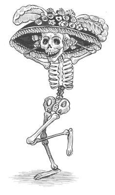 La catrina es la forma en la que José Guadalupe Posadas identifica a la gente que aún siendo indígenas se sentían europeos. «...en los huesos pero con sombrero francés con sus plumas de avestruz».