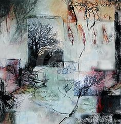 Mixed media painting with trees and leaves