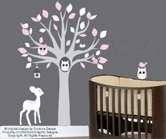 Baby wall decals nusery wall decal art with owl por couturedecals