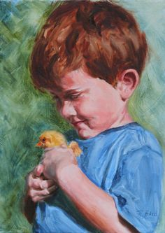 Original oil Painting They grow up fast  by DebbyBirdPaintings, $210.00