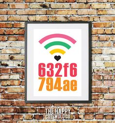 Personalised WIFI Password Art Print. Custom WIFI Code Sign. By TheHappyCotswoldCo