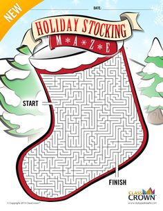 ClassCrown™ Original - Holiday Stocking Maze.  Your students will love this great Christmas themed maze in the shape of a holiday stocking. The maze is designed in full, vibrant color for maximum quality but has been engineered to look great when printed in black and white. Happy Holidays!