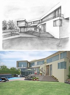 Architecture Concept Drawings, Watercolor Architecture, Architecture Sketchbook, Pavilion Architecture, Architecture Details, House Design Drawing, Perspective Drawing, Exterior Design, Design Ideas