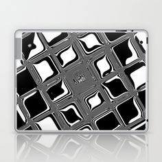 Black and white abstract design with fancy squared patterns on grey Laptop & iPad Skin by Ankka - $25.00