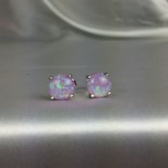 Lilac Opal Stud Earrings Soft and Pretty! Lilac accent Opal butterfly back studs/ Round Shape/ Metal Silver 925/ Price Firm Jewelry Earrings